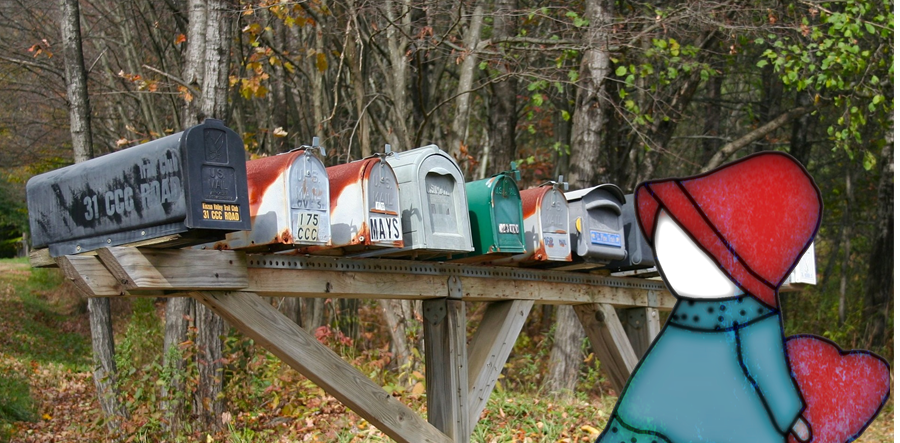 Drop Us a Line - Contact Us – row of country mailboxes ● OldGettinPlace.com