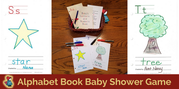 Alphabet Book Baby Shower Game For Both Baby Boys And Baby Girls